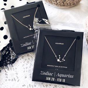 Aquarius Zodiac Gold Pendant Dainty Necklace